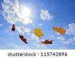 Autumn Falling Leaves On Blue...