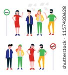 group of smoking and coughing... | Shutterstock .eps vector #1157430628