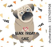 little pug sale card. cute pet. ... | Shutterstock . vector #1157435908
