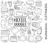 hotel traditional doodle icons... | Shutterstock .eps vector #1157436202