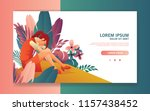 stress woman feel anxious and...   Shutterstock .eps vector #1157438452