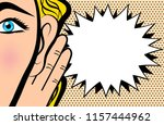 woman holds her hand near ear... | Shutterstock . vector #1157444962
