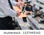 making esspresso coffee. bar ... | Shutterstock . vector #1157445142