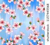 japanese cherry blossom  sakura ... | Shutterstock .eps vector #1157445568