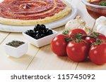 tomato paste spread on raw...   Shutterstock . vector #115745092