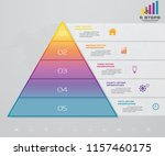 5 steps pyramid with free space ... | Shutterstock .eps vector #1157460175