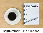 list year 2019 goals on paper... | Shutterstock . vector #1157466565