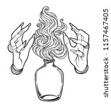 hand of witch with fire. mystic ... | Shutterstock .eps vector #1157467405