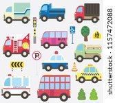 cute transportation collection... | Shutterstock .eps vector #1157472088