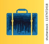 world famous monuments in bag.... | Shutterstock .eps vector #1157472418