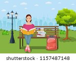 young woman reading books... | Shutterstock .eps vector #1157487148