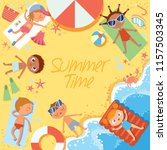 summer time. group of children... | Shutterstock .eps vector #1157503345