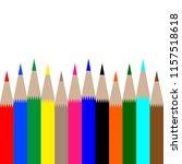 multicolored pencils on white...   Shutterstock . vector #1157518618