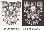 wanted cowboy print with skull... | Shutterstock .eps vector #1157518642
