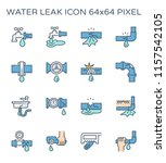 burst pipe and water leak icon...   Shutterstock .eps vector #1157542105