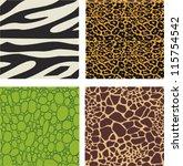 Set Of 4 Animal Skin Patterns   ...