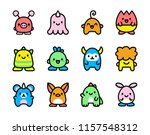 vector set of cartoon cute... | Shutterstock .eps vector #1157548312