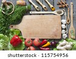 vegetables and spices vintage... | Shutterstock . vector #115754956