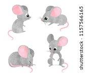 set of cute little mice. vector ... | Shutterstock .eps vector #1157566165