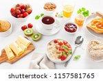 healthy breakfast with oatmeal...   Shutterstock . vector #1157581765