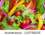 fresh salad close up | Shutterstock . vector #115758235