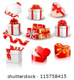 set of colorful vector gift... | Shutterstock .eps vector #115758415