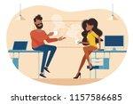 coffee break at work | Shutterstock .eps vector #1157586685