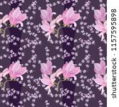 pattern with magnolia for... | Shutterstock .eps vector #1157595898