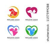 Stock vector pet love logo design pet care logo design 1157599288