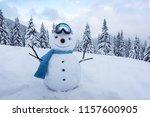 Funny Snowman In Ski Glass In...