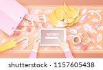 women are using a digital... | Shutterstock .eps vector #1157605438