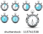 set of stopwatches showing 5 ... | Shutterstock . vector #115761538