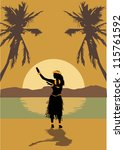 Illustration Of Hawaii Woman...