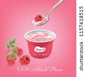yogurt raspberry cup... | Shutterstock .eps vector #1157618515