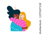 two girl friends hugging and... | Shutterstock .eps vector #1157637118