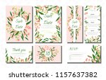 wedding card templates set with ... | Shutterstock .eps vector #1157637382