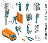 isometric electrician... | Shutterstock .eps vector #1157674135