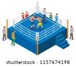 box isometric composition with... | Shutterstock .eps vector #1157674198