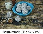 homemade chocolate coconut... | Shutterstock . vector #1157677192