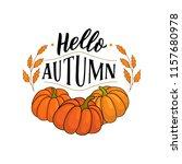 autumn illustration pumpkins... | Shutterstock .eps vector #1157680978