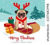 christmas pug dog cartoon... | Shutterstock .eps vector #1157681998