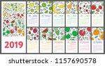calendar 2019. vector english... | Shutterstock .eps vector #1157690578