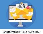 text sign showing open house.... | Shutterstock . vector #1157695282