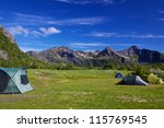 Tents on picturesque wildcamping spot on Lofoten islands in Norway - stock photo