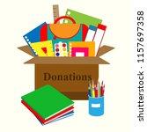 different school supplies in a...   Shutterstock .eps vector #1157697358