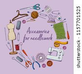 set of tools for needlework and ...   Shutterstock .eps vector #1157701525