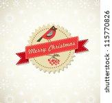 retro xmas background with bird ... | Shutterstock .eps vector #115770826