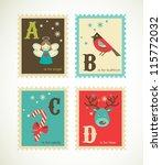Christmas Alphabet With Cute...