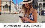 millennial girl in romper and... | Shutterstock . vector #1157729368