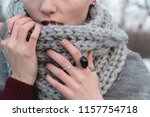 the girl in an autumn or winter ... | Shutterstock . vector #1157754718